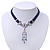 Victorian Dark Blue Suede Style Diamante Choker Necklace In Silver Tone Metal - 34cm Length with 7cm extension - view 6
