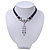 Victorian Dark Blue Suede Style Diamante Choker Necklace In Silver Tone Metal - 34cm Length with 7cm extension - view 9