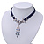 Victorian Dark Blue Suede Style Diamante Choker Necklace In Silver Tone Metal - 34cm Length with 7cm extension - view 8