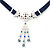 Victorian Dark Blue Suede Style Diamante Choker Necklace In Silver Tone Metal - 34cm Length with 7cm extension - view 2