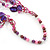 Magenta/Purple/Pink Multistrand Shell Necklace - 90cm Length - view 4