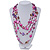 Magenta/Purple/Pink Multistrand Shell Necklace - 90cm Length - view 2