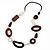 Wood Link & Glass Nugget Leather Style Long Necklace (Dark Brown, White & Black) - 76cm Length
