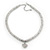 Rhodium Plated Swarovski Crystal Small Heart Necklace - 38cm Length/ 7cm Extension - view 7
