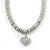 Rhodium Plated Swarovski Crystal Small Heart Necklace - 38cm Length/ 7cm Extension - view 2