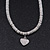 Rhodium Plated Swarovski Crystal Small Heart Necklace - 38cm Length/ 7cm Extension