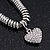 Rhodium Plated Swarovski Crystal Small Heart Necklace - 38cm Length/ 7cm Extension - view 4