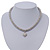Rhodium Plated Swarovski Crystal Small Heart Necklace - 38cm Length/ 7cm Extension - view 8