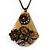 Long Vintage 'Butterfly&Flower' Pendant Necklace In Bronze Finish - 70cm Length/ 6cm Extension - view 2