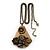 Long Vintage 'Butterfly&Flower' Pendant Necklace In Bronze Finish - 70cm Length/ 6cm Extension