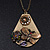 Long Vintage 'Butterfly&Flower' Pendant Necklace In Bronze Finish - 70cm Length/ 6cm Extension - view 8