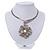 Large Dimensional Swarovski Crystal 'Flower' Pendant Collar Necklace In Burn Silver Finish - 39cm Length