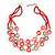 Multistrand Red Shell Circle Necklace In Silver Finish - 46cm Length/ 4cm Extender