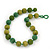Chunky Grass Green/ Olive Glass Beaded Necklace - 56cm Length