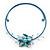 Light Blue Shell Flower Flex Wire Choker Necklace - Adjustable
