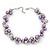 Purple/Mirrored Metallic Bead Cluster Choker Necklace - 38cm Length/ 5cm Extension
