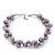 Purple/Mirrored Metallic Bead Cluster Choker Necklace - 38cm Length/ 5cm Extension - view 5