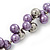 Purple/Mirrored Metallic Bead Cluster Choker Necklace - 38cm Length/ 5cm Extension - view 3