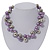 Purple/Mirrored Metallic Bead Cluster Choker Necklace - 38cm Length/ 5cm Extension - view 2