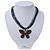 Black/Dark Grey Diamante 'Butterfly' Cotton Cord Pendant Necklace In Bronze Metal - 38cm Length/ 8cm Extension - view 2