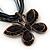 Black/Dark Grey Diamante 'Butterfly' Cotton Cord Pendant Necklace In Bronze Metal - 38cm Length/ 8cm Extension - view 3