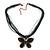 Black/Dark Grey Diamante 'Butterfly' Cotton Cord Pendant Necklace In Bronze Metal - 38cm Length/ 8cm Extension - view 4