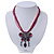 Magenta/Pink Diamante 'Butterfly With Tail' Cotton Cord Pendant Necklace In Bronze Metal - 38cm Length/ 8cm Extension - view 2