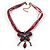 Magenta/Pink Diamante 'Butterfly With Tail' Cotton Cord Pendant Necklace In Bronze Metal - 38cm Length/ 8cm Extension - view 3