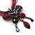 Magenta/Pink Diamante 'Butterfly With Tail' Cotton Cord Pendant Necklace In Bronze Metal - 38cm Length/ 8cm Extension - view 4