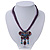 Violet/Deep Purple Diamante 'Butterfly With Tail' Cotton Cord Pendant Necklace In Bronze Metal - 38cm Length/ 8cm Extension - view 2