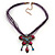 Violet/Deep Purple Diamante 'Butterfly With Tail' Cotton Cord Pendant Necklace In Bronze Metal - 38cm Length/ 8cm Extension - view 3