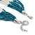 Multistrand Malachite Coloured & Silver Bead Necklace In Silver Tone Finish - 76cm Length/ 6cm Extension - view 6