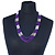 Multistrand Purple & Silver Bead Necklace In Silver Tone Finish - 76cm Length/ 6cm Extension - view 2