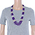 Multistrand Purple & Silver Bead Necklace In Silver Tone Finish - 76cm Length/ 6cm Extension - view 3