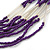 Multistrand Purple & Silver Bead Necklace In Silver Tone Finish - 76cm Length/ 6cm Extension - view 4