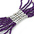 Multistrand Purple & Silver Bead Necklace In Silver Tone Finish - 76cm Length/ 6cm Extension - view 5