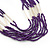 Multistrand Purple & Silver Bead Necklace In Silver Tone Finish - 76cm Length/ 6cm Extension - view 7