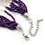 Multistrand Purple & Silver Bead Necklace In Silver Tone Finish - 76cm Length/ 6cm Extension - view 6