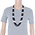 Multistrand Black & Silver Bead Necklace In Silver Tone Finish - 76cm Length/ 6cm Extension - view 3