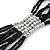 Multistrand Black & Silver Bead Necklace In Silver Tone Finish - 76cm Length/ 6cm Extension - view 4