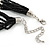 Multistrand Black & Silver Bead Necklace In Silver Tone Finish - 76cm Length/ 6cm Extension - view 6