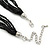 Black Glass Bead With Hammered Metal Station Long Necklace In Silver Tone Finish - 70cm Length/ 7cm Extension - view 5