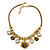 Vintage 'Rose&Heart' Mesh Charm Necklace In Burn Gold Metal - 40cm Length/ 6cm Extension - view 3