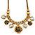 Vintage 'Rose&Heart' Mesh Charm Necklace In Burn Gold Metal - 40cm Length/ 6cm Extension