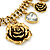 Vintage 'Rose&Heart' Mesh Charm Necklace In Burn Gold Metal - 40cm Length/ 6cm Extension - view 4