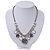 Vintage 'Rose&Heart' Mesh Charm Necklace In Burn Silver Metal - 40cm Length/ 6cm Extension - view 2