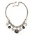 Vintage 'Rose&Heart' Mesh Charm Necklace In Burn Silver Metal - 40cm Length/ 6cm Extension - view 4