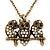 'Three Wise Owls' Long Diamante Pendant Necklace In Burn Gold Metal - 62cm Length/ 5cm Extension