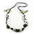 Long Green Glass and Wooden Bead Necklace on Cotton Cord - Expandable 112cm - 147cm Length