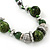 Long Green Glass and Wooden Bead Necklace on Cotton Cord - Expandable 112cm - 147cm Length - view 4